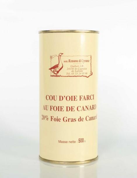 COU D'OIE FARCIE AU FOIE DE CANARD 20% Foie Gras de Canard