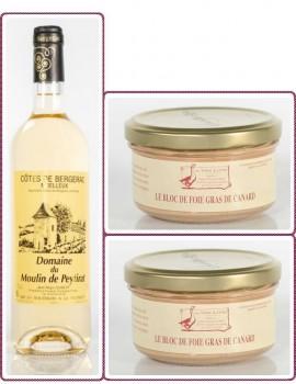 2 BLOCS DE FOIE GRAS DE CANARD 130 g + 1 Côtes de Bergerac Moelleux 75 cl