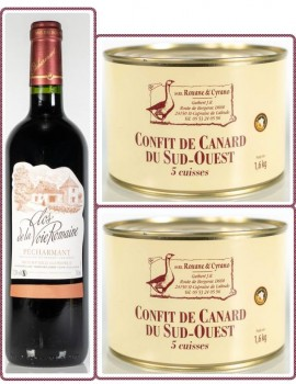 2 CONFIT DE CANARD DU SUD-OUEST (5 Cuisses) + 1 Pécharmant Clos De La Voie Romaine 75cl