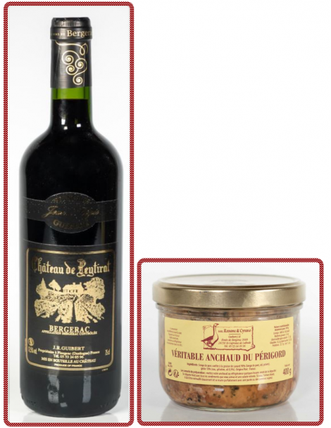 1 VÉRITABLE ANCHAUD DU PÉRIGORD + 1 Bouteille I.G.P. Périgord Rouge